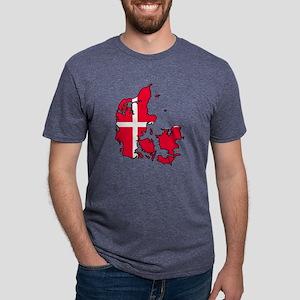 Denmark Map - Danish Flag Mens Tri-blend T-Shirt