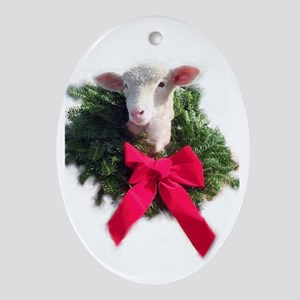 Oval Ewephoric Christmas lamb ornament