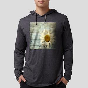 shabby chic country daisy Mens Hooded Shirt