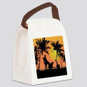 Surfer and scooter at Sunset Canvas Lunch Bag