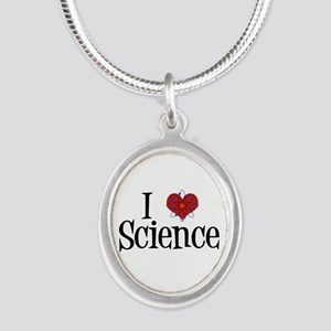 I Love Science Silver Oval Necklace