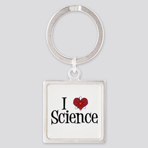 I Love Science Square Keychain