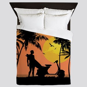 Surfer and scooter at Sunset Queen Duvet