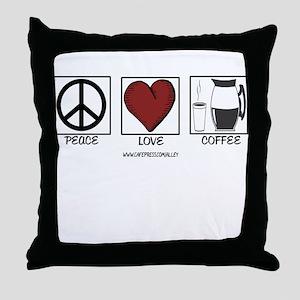 PEACE LOVE & COFFEE Throw Pillow