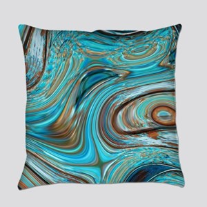 rustic turquoise swirls Everyday Pillow