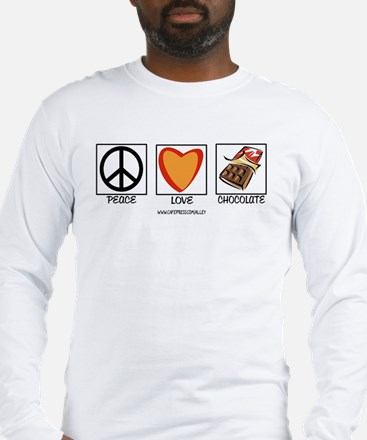 PEACE LOVE & CHOCOLATE Long Sleeve T-Shirt