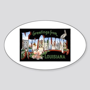 New Orleans Louisiana Greetings Oval Sticker