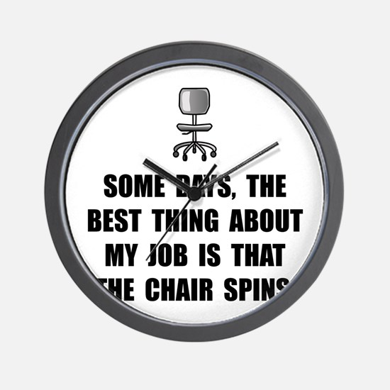 Job Chair Spins Wall Clock