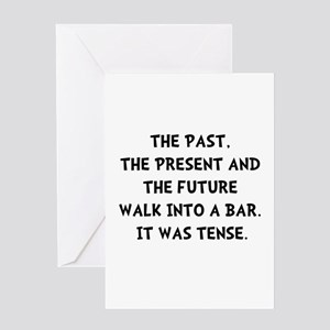 Past future walk into bar greeting cards cafepress tense walk into bar greeting card m4hsunfo