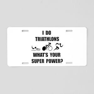 Triathlon Super Power: Aluminum License Plate