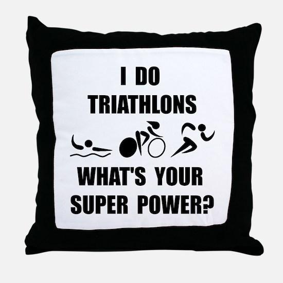 Triathlon Super Power: Throw Pillow