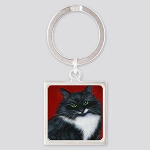 """Tuxedo Cat """"Twinkle Toes"""" Square Keychain"""