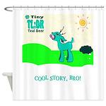 My Tiny Teal Deer Shower Curtain