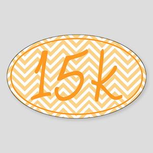 15k Orange Chevron Sticker (Oval)