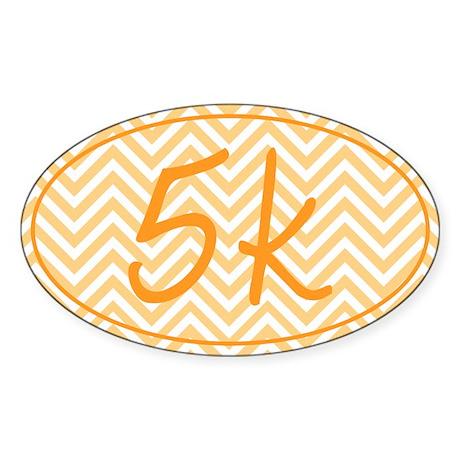 5k Orange Chevron Sticker (Oval)