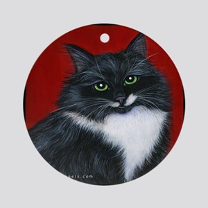 "Tuxedo Cat ""Twinkle Toes"" Ornament (Round)"