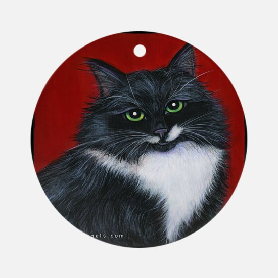 """Tuxedo Cat """"Twinkle Toes"""" Ornament (Round)"""