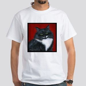"Tuxedo Cat ""Twinkle Toes"" White T-Shirt"