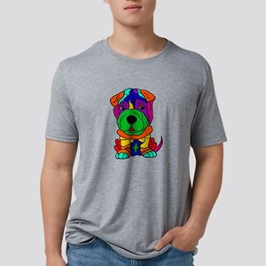 Funny Shar Pei Dog Pop Art Mens Tri-blend T-Shirt
