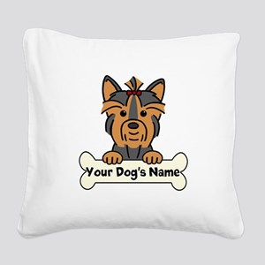 Personalized Yorkie Square Canvas Pillow