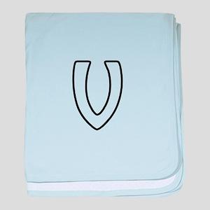 Outline Monogram V baby blanket