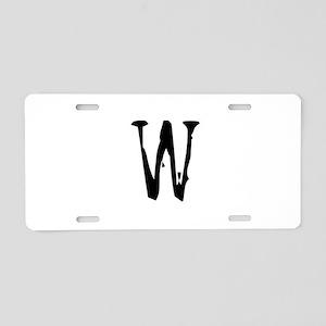 Acoustic Monogram W Aluminum License Plate