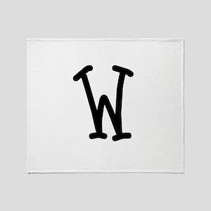 Bookworm Monogram W Throw Blanket