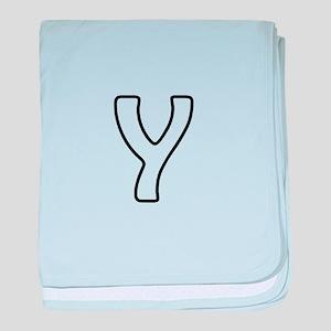 Outline Monogram Y baby blanket