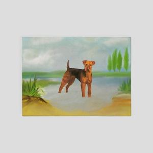 Terrier standing in River landscape 5'x7'Area Rug