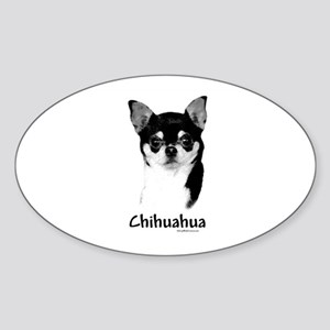 Chihuahua Charcoal Oval Sticker