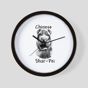 Shar Pei Charcoal Wall Clock