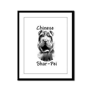 Shar Pei Charcoal Framed Panel Print