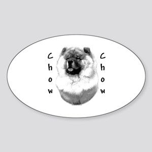 Chow Chow Charcoal Oval Sticker
