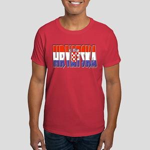 Word Art Flag of Hrvatska Dark T-Shirt
