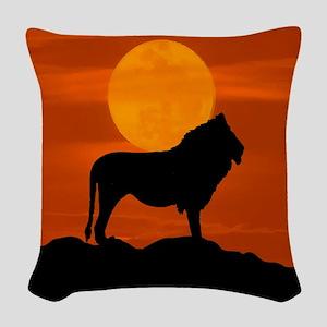 Lion at sunset Woven Throw Pillow