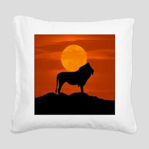 Lion at sunset Square Canvas Pillow