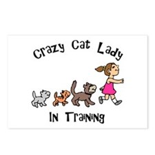 Crazy Cat Lady In Training Postcards (Package of 8