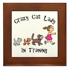 Crazy Cat Lady In Training Framed Tile