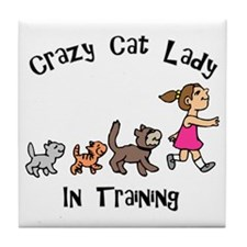 Crazy Cat Lady In Training Tile Coaster
