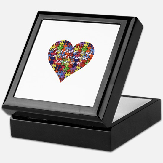 Autism Hands full, See my heart Keepsake Box