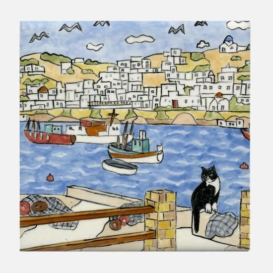Tile Coaster Mykonos, Greece with Tuxedo Cat