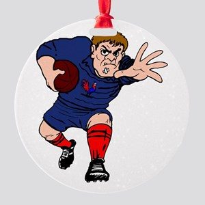 French Rugby Player Round Ornament