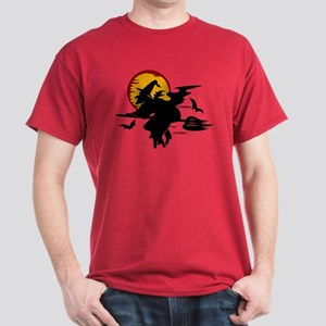 Flying Witch and Harvest Moon on Blood Red T-Shirt
