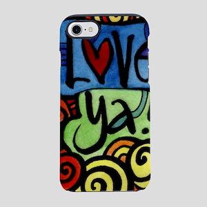 Love You Doodle Pattern iPhone 7 Tough Case