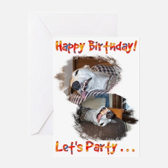 HAPPY BIRTHDAY LETS PARTY GREYHOUND STYLE GREETING