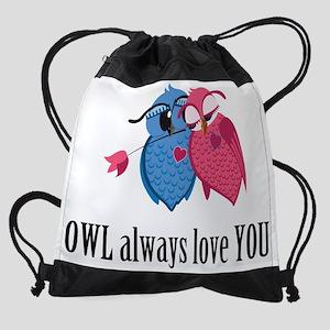 Romantic Owls Drawstring Bag