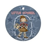 Little Cowgirl Keepsake Ornament (Round)