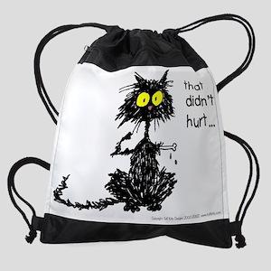 that didnt hurt funny cat Drawstring Bag