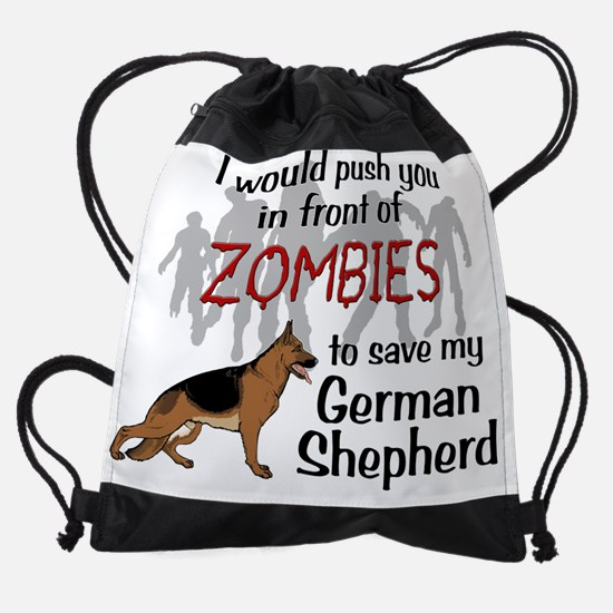 GSD vs Zombies Drawstring Bag