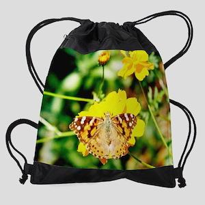 calendar marigold butterfly Drawstring Bag